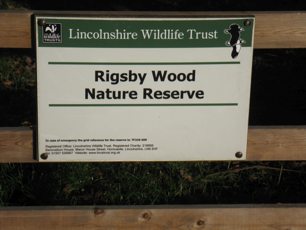 Rigsby Wood nature reserve sign