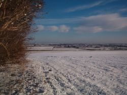 View over snowy fields to Alford